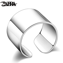 ZABRA Real 925 Sterling Silver 13mm Open Ring for Women Simple Trendy Style Wedding Engagement Gift Japan Korean Fashion Jewelry