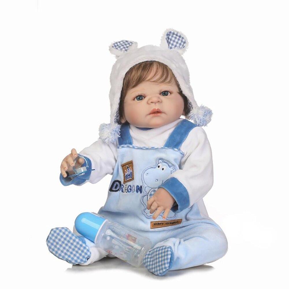Adorable NPK 57CM Bebe Reborn Boy Doll Handmade Full Silicone Reborn Baby Doll Bonecas In Plush Clothes Fashion Toys For Girls цена