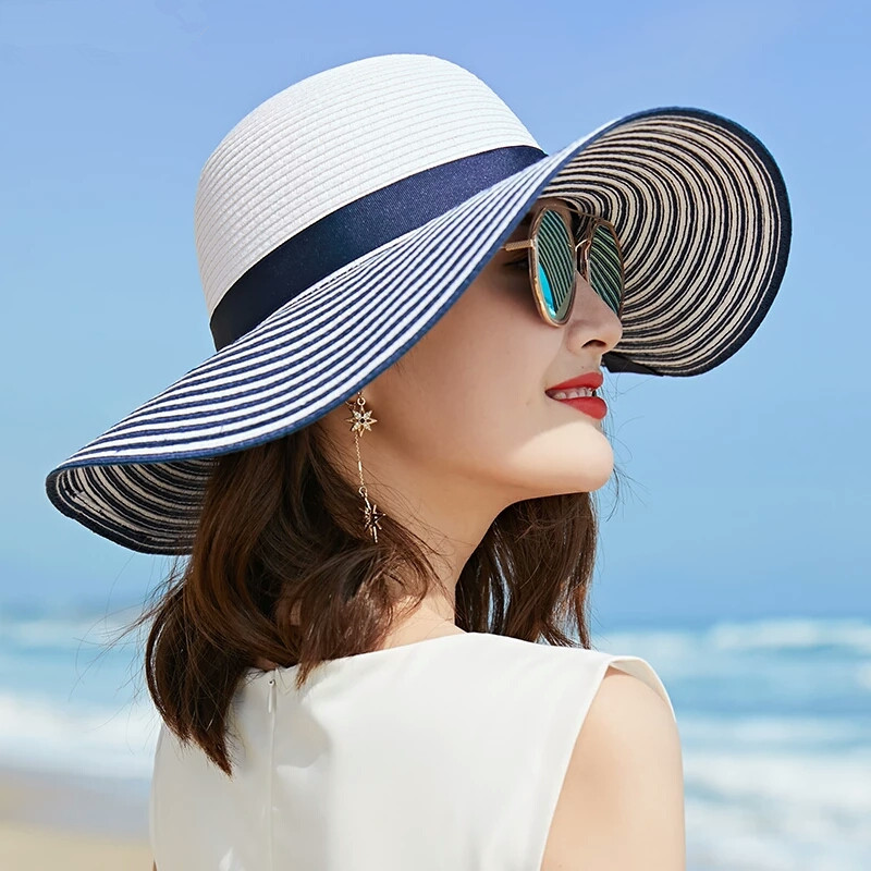 2019 Hot Sale Fashion Hepburn Wind Black White Striped Bowknot Summer Sun Hat Beautiful Women Straw Beach Hat Large Brimmed Hat