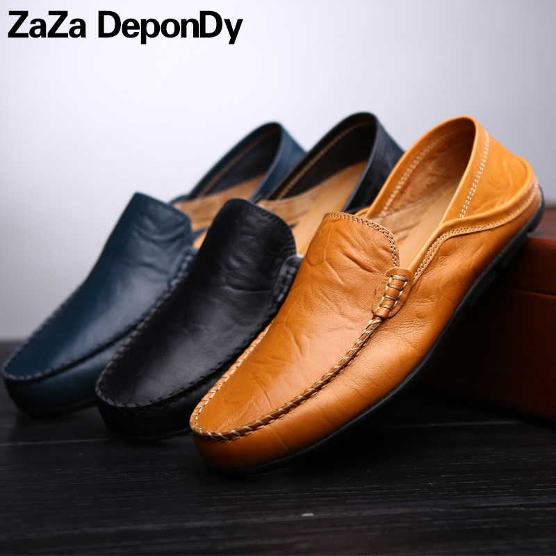 2018 Spring Running Shoes For Men Outdoor Slip-On Walking Shoes Flat Sport Shoes Men Genuine Leather Sneakers Zapatillas Hombre