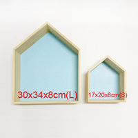 Nordic Wooden House Shelf Party Decorations Wall Hanging Storage Case Kids Baby Girls Room Decor Photography Props Gift