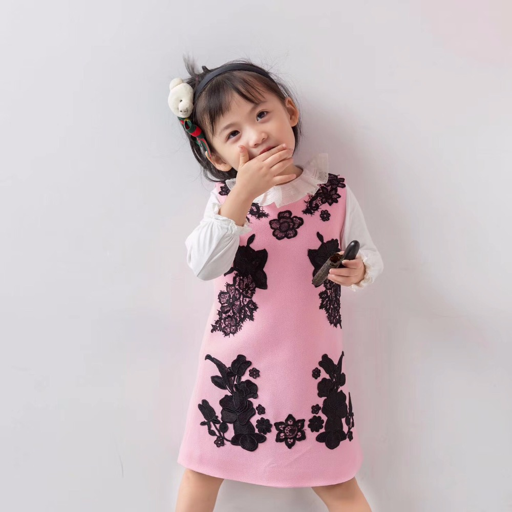 Children Fashion Dress Girls High Quality Black Lace Embroidered Vest Dress Kids Sleeveless Pink Lovely Dresses Girl Clothes