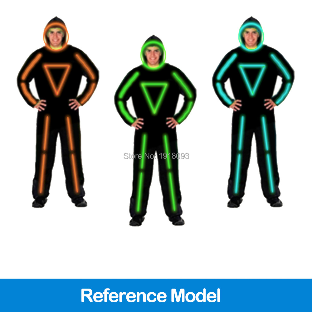 For DIY EL Clothes LED Strip Neon Cold light Dance Fashion Talent Show LED Suits Illuminated Glowing Matchstick Men Clothing цена