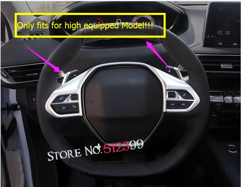 Fits for High equipped Model Interior Steering Wheel Decorative Frame Cover Trim ABS Matte Car Styling For Peugeot 5008 2017