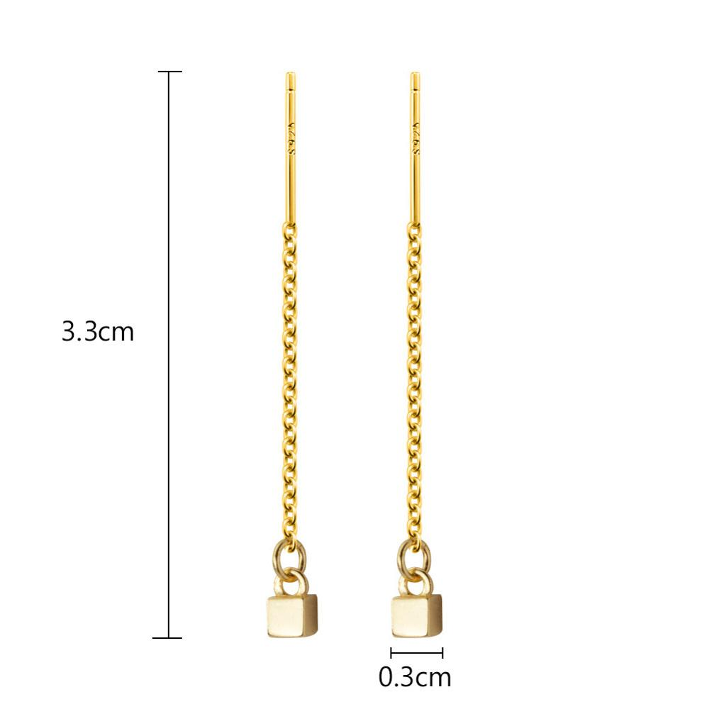 LicLiz New 2019 S925 Sterling Silver Cubic Drop Earring for Women Gold White Gold Long Link Chain Jewelry with Small Ball LE0576 in Earrings from Jewelry Accessories