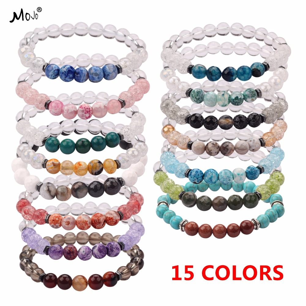 15 Colors Natural Stone Beaded Bracelet Elastic Classic Designs for Women Men Lovers with Extra Free Gift MJ-BB031