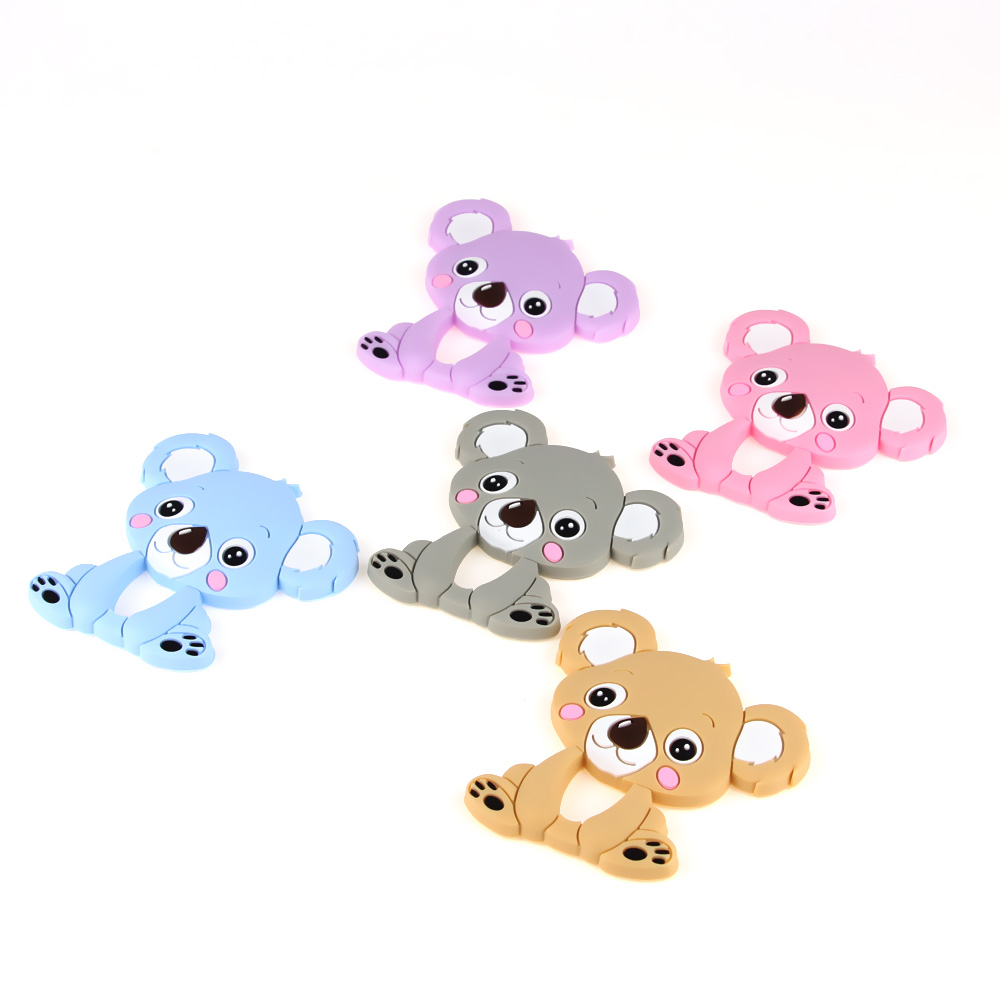 TYRY.HU  1pc Bear Baby Teethers Silicone Teething Toys Silicone Chew Charms Baby Silicone Teethers Diy Necklace Pendant