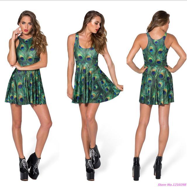 da6734c9589 Sexy Pleated Club Party Mini Dress Sleeveless Retro Green Peacock Feather  Dress Summer A-Line Women Sports Dress Vintage