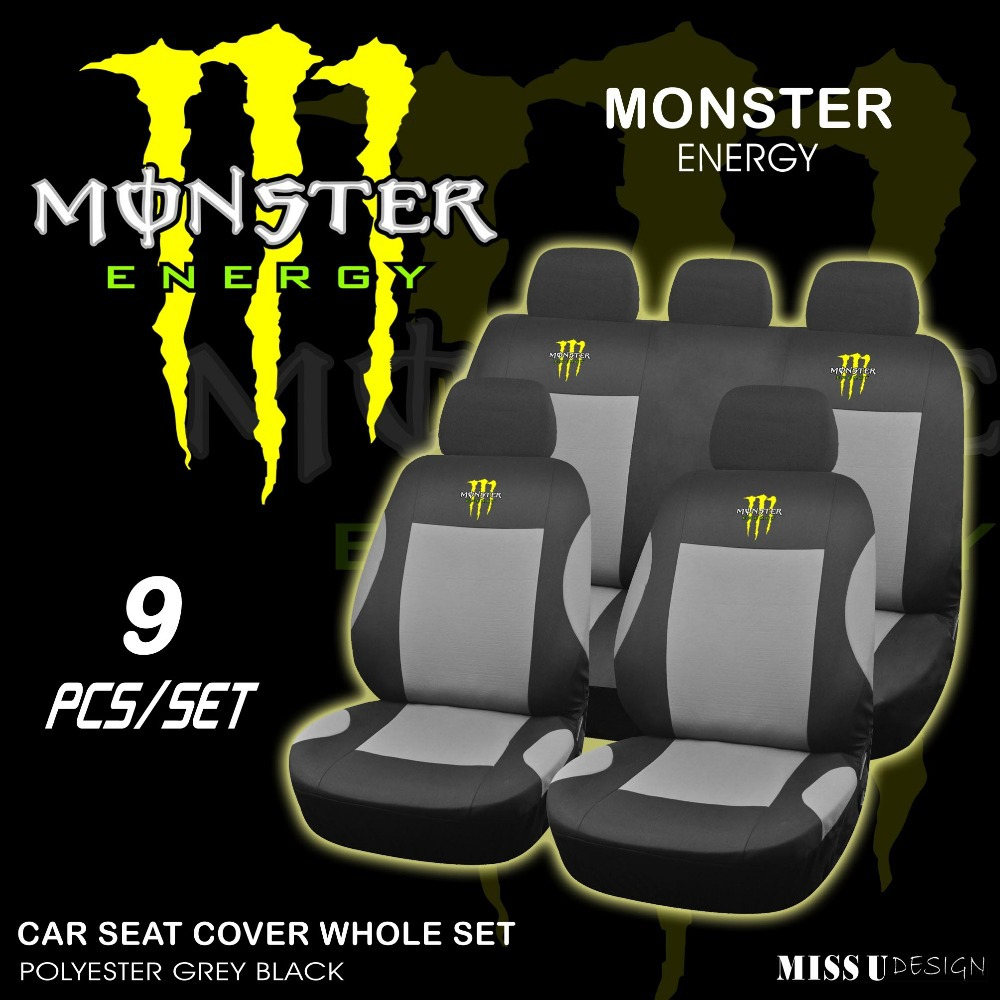 monster energy car seat covers automotive accessories. Black Bedroom Furniture Sets. Home Design Ideas