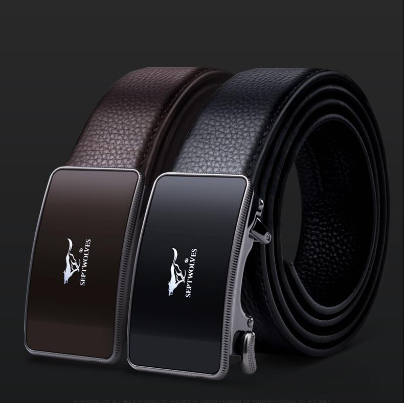2019 Alloy luxury automatic buckle youth leather business men belt Male genuine leather belt Coffee fashion Natural Cowskin Belt