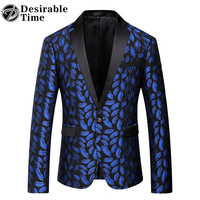 Mens Royal Blue Printed Blazer Pattern Slim Fitted Prom Blazers Men One Button Suit Jacket Stage
