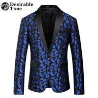 Mens Royal Blue Blazer Stampato Modello Slim Equipaggiata Prom Blazers Uomini One Button Suit Jacket Costumi di Scena Per Cantanti DT080