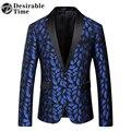 Mens Azul Royal Impresso Padrão Blazer Magro Cabido Prom Homens Blazers One Button Suit Jacket Figurinos Para Os Cantores DT080