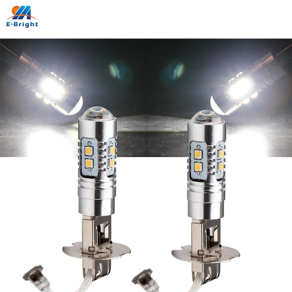 цена на 2PCS H1 H3 880 881 2323 10 Led 10 SMD DC 12V/24V Auto Source Fog Lamps lights Headlight led DRL Bulbs lens High power Pure white