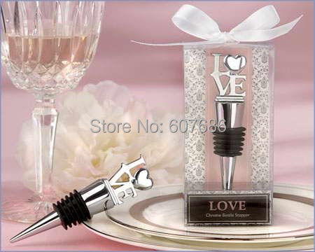 Wholesale 30 Pieces LOVE Themed Bottle Stoppers Wedding Keepsakes Gifts Bridal Favors Tables Decorations Free Shipping
