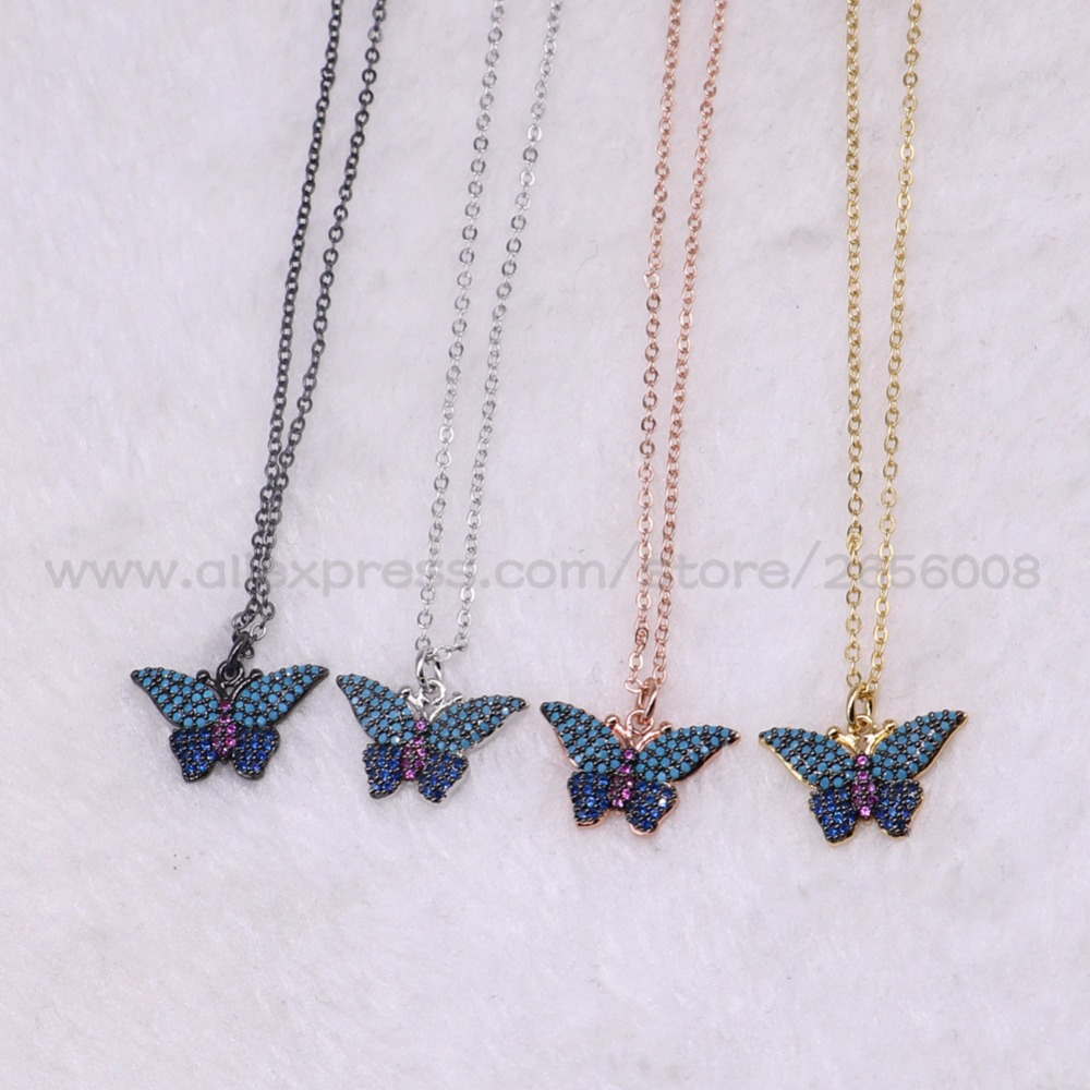 8PCs High quality Cute butterfly necklace tiny pendant necklace Mix color micro pave Cubic zircon inset