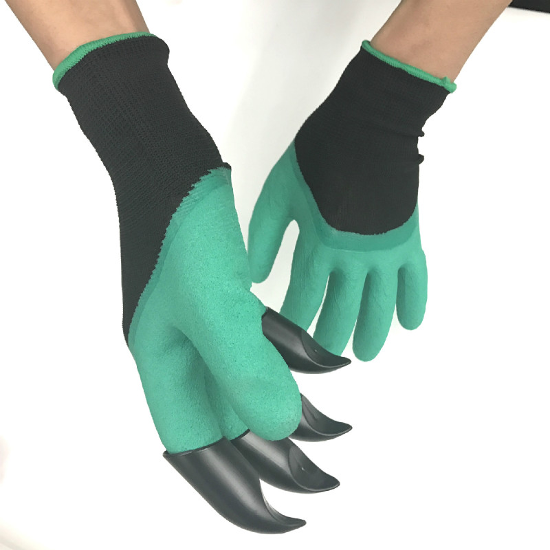 1 Pair Green Garden Gloves With Fingertips Claws Dig And Plant Safe For Rose Pruning Gloves Mittens Digging Gloves