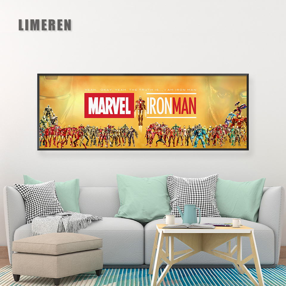 Marvel Movies Canvas Painting Poster Iron Man Series Complete Set Wall Art Pictures for Living Room Home Decor