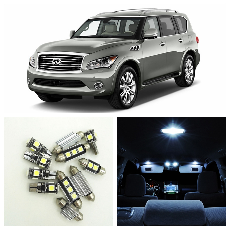 13pcs Canbus Car LED Light White Bulbs Interior Package Kit For 2011 2012 2013 Infiniti QX56 Map Dome Trunk Door Lamp cnsunnylight t10 w5w led car canbus parking light clearance bulbs trunk door dome light for mercedes benz glk300 350 400 500 550