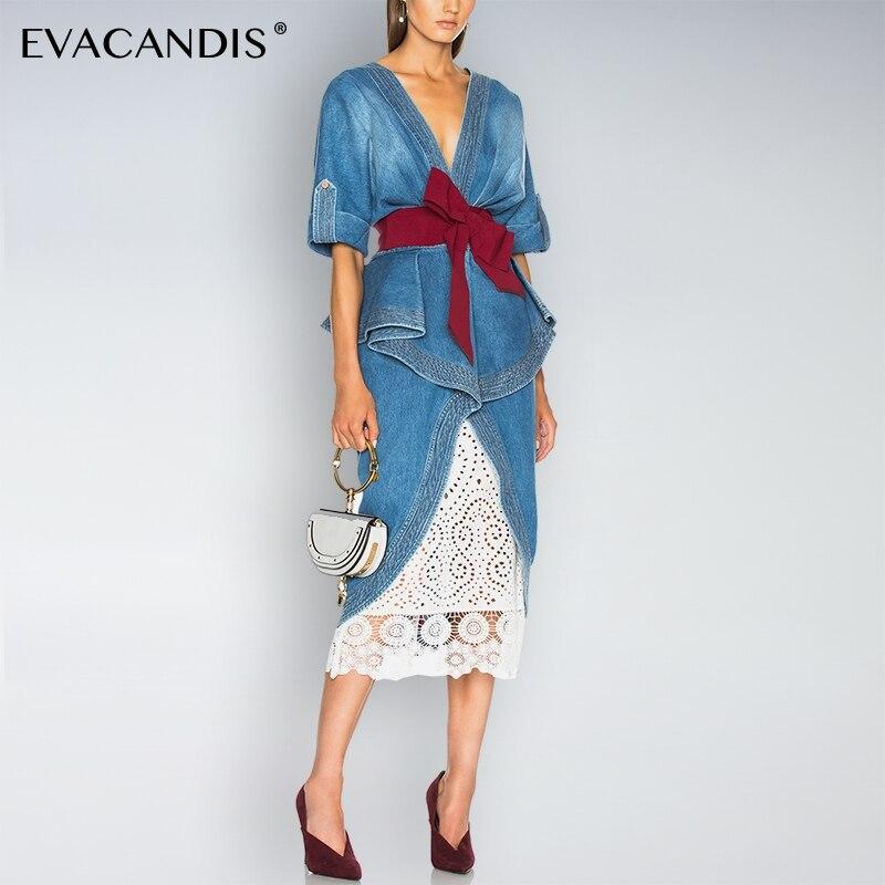 Robe en Denim de dentelle blanche col en V élégante tunique coréenne arc évider Sexy Designer bureau dos nu robe d'été Midi femmes Vestidos
