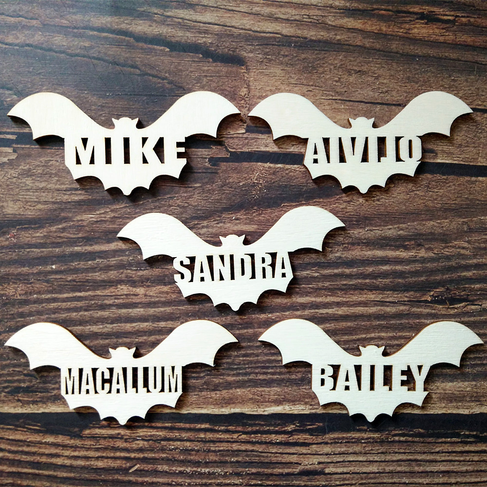 10pcs wooden custom personalized bat shape 10 different names