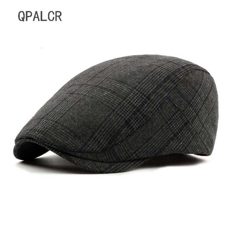 62c8ca0435662 QPALCR 2018 nuevo Retro rayas boinas sombreros hombres mujeres Cabbie  Flatcap Primavera Verano tapas vendedor de periódicos