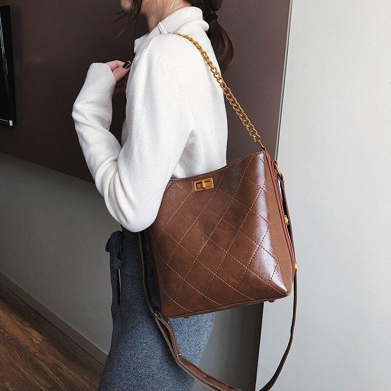 Luxury Handbags Designer Female Bucket Chain Tote Hand Bag Ladies Pu Leather Crossbody Shoulder Bag