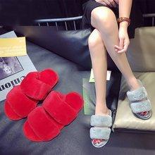 Liren New 2019 Summer Casual Slippers Women Fur Slides Home Flat Sandals Female Cute Fluffy House Shoes Woman Brand Luxury