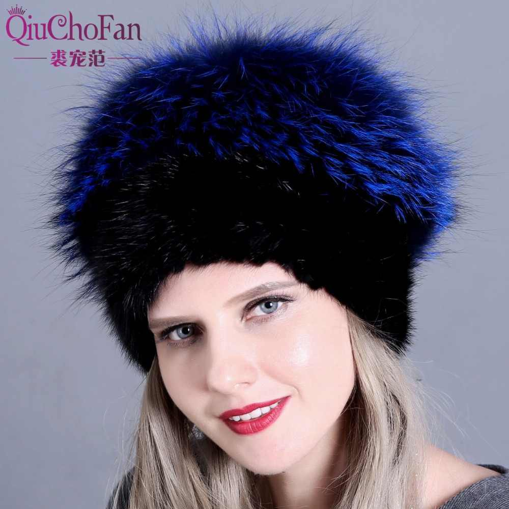 82605854cb8 Fashion Winter Hats For Women Real Mink Fur Hat Female Patchwork Fox Fur  Mix Color Internal