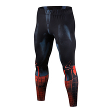 High quality new mens tights 3D tattoo Superman Iron Man bodybuilding jogging fitness MMA tight stretch leggings trousers