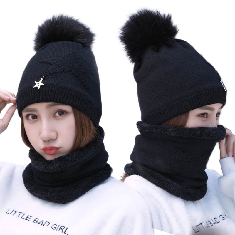 Knitted Hat Scarf Set Women Warm Plus Velvet Thick Beanies Fashion Winter Pompom Knitted Cap Scarves Kit