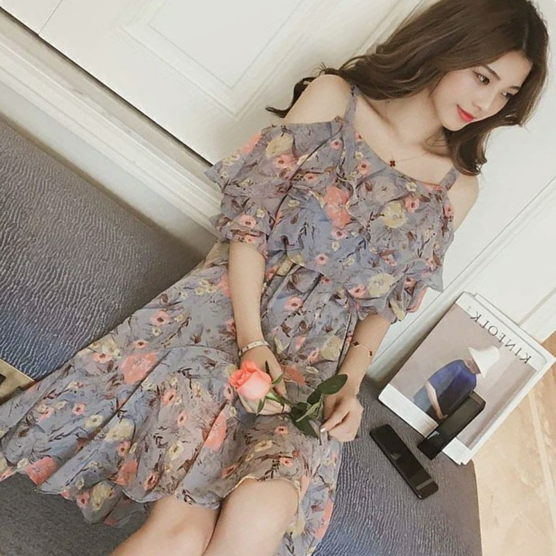 Floral Printed Spaghetti Dress For Women Strap High Waist A-Line Dresses Bohemian Hollow Sling Ladies Dress