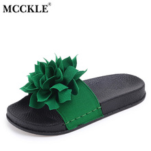 MCCKLE 2017 Women Shoes Fashion Woman Slippers Flowers Platform Summer Casual Hot Sale Comfortable Flat New Style Black Open Toe