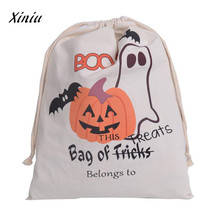 Halloween Drawstring bag Candy Gift printing backpack Bundle Pocket Drawstring Storage Travel Bags Mochila Mujer