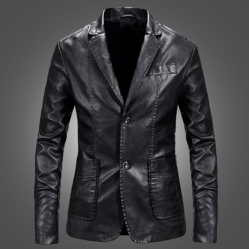 Men Leather Blazer Sheepskin 2020 New Spring And Autumn Fashion Male Suit Genuine Leather Coat Slim Pocket Teenage Boy P01