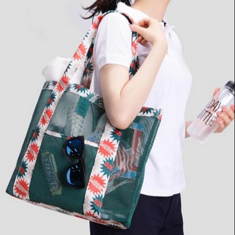 Large Capacity Nylon Mesh Transparent Beach Handbag Women Fashion Top-shoulder Bag Printing Casual Tote Portable Travel Bags New