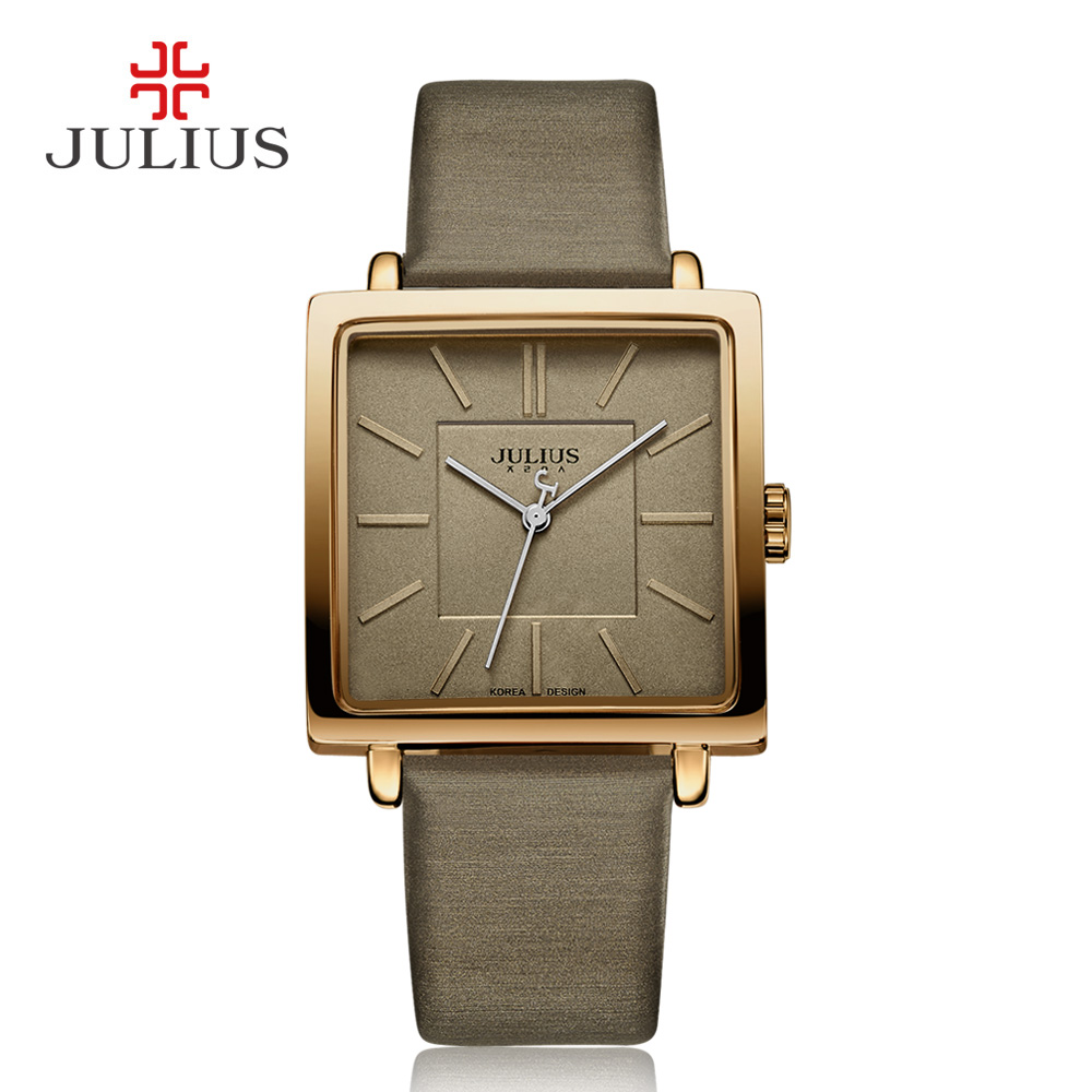 Julius Brand Quartz Watches Women Clock Gold Square Leather Bracelet Casual Fashion Whatch Ladies Cheap Promotion Relojes JA-354 2016 julius brand quartz watches women clock gold square leather bracelet casual fashion watch ladies reloj mujer montre femme