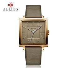 Юлий Марка Повседневные часы Для женщин часы золотые квадратный кожаный браслет Повседневное моды Whatch Дамы Дешевые Продвижение Relojes JA-354