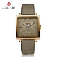 Julius Marque Quartz Montres Femmes Horloge Or Carré Bracelet En Cuir Casual Whatch De Mode Dames Pas Cher Promotion Relojes JA-354
