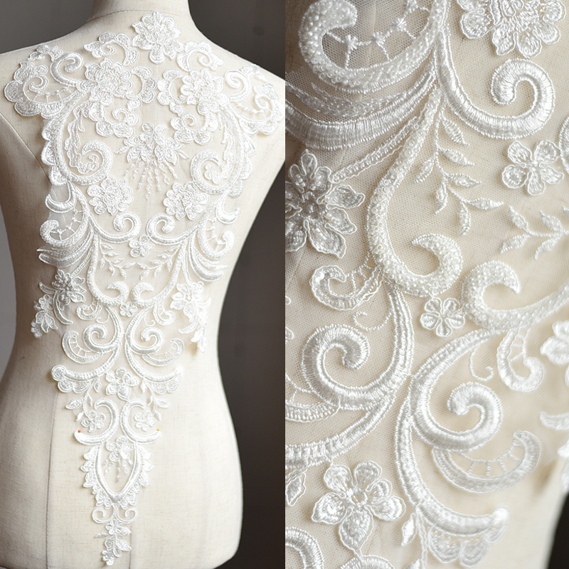 Wedding Dress Fabric: Lace Fabric Off White Mesh Beads Embroidered Applique DIY