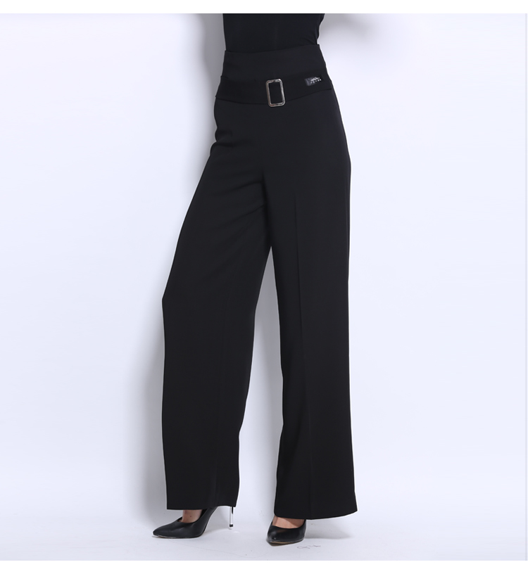 Woman's Adult Latin Dance Pants Long High Waist Broad Leg Trousers Ballroom Performance Dance Practice Clothes Flared Pants H658 13