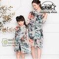 China Tradicional Cheongsam Roupa Pai-Filho Família Combinando Roupas Flor Do Vintage Impresso Fino Vestidos de Mãe E Filha