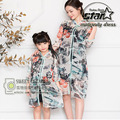China Traditional Cheongsam Parent-Child Outfit Vintage Family Matching Clothes Flower Printed Slim Mother And Daughter Dresses