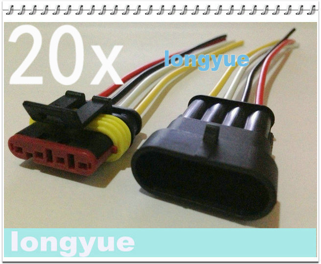 longyue 20sets New 4 Pin Waterproof Electrical Wire Connector Plug Motorcycle Car Marine 10cm wire