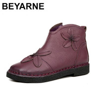 BEYARNE Folk Style Fashion Women Boots Retro Handmade Women Ankle Boots Genuine Leather Shoes Soft Bottom