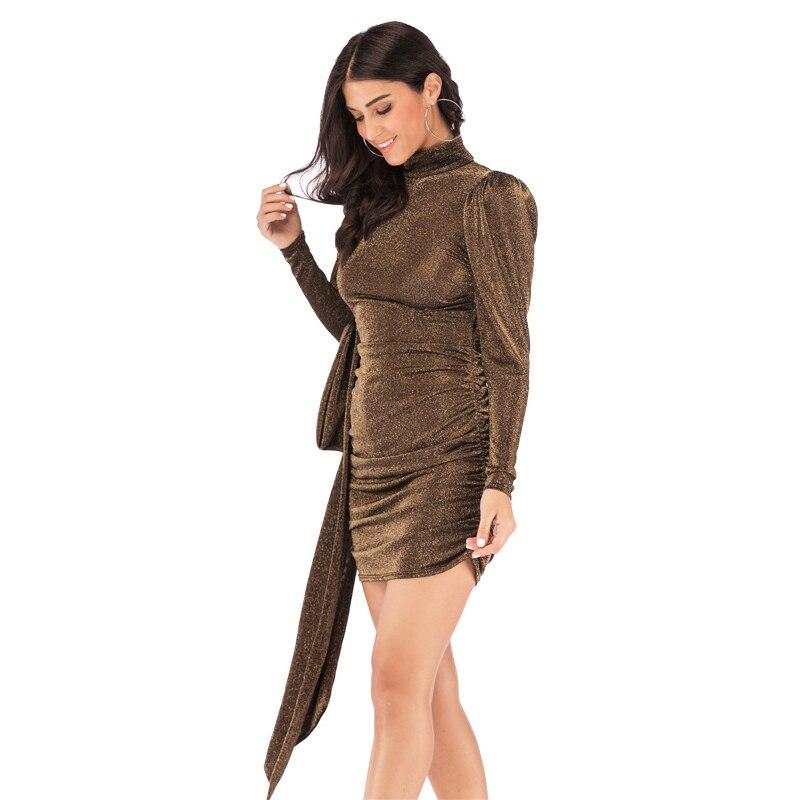 New Spring Puff Sleeve Glitter Dress Sexy Backless Turtleneck Sashes Night Club Party Dress Elegant Bodycon Slim Femal Dress