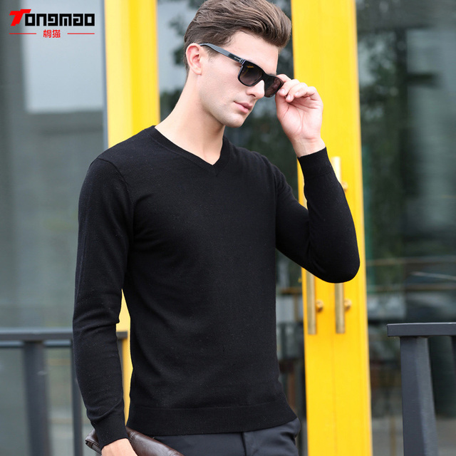50eb8d2623c Autumn Winter Men Clothes 100% Pure Wool Sweater Men Fashion V-Neck Long  Sleeve Slim Fit Pullover Casual Solid Color Men Sweater