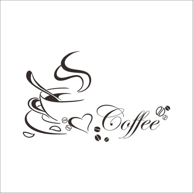 Coffee Heart Vinyl Quote Wall Sticker 6