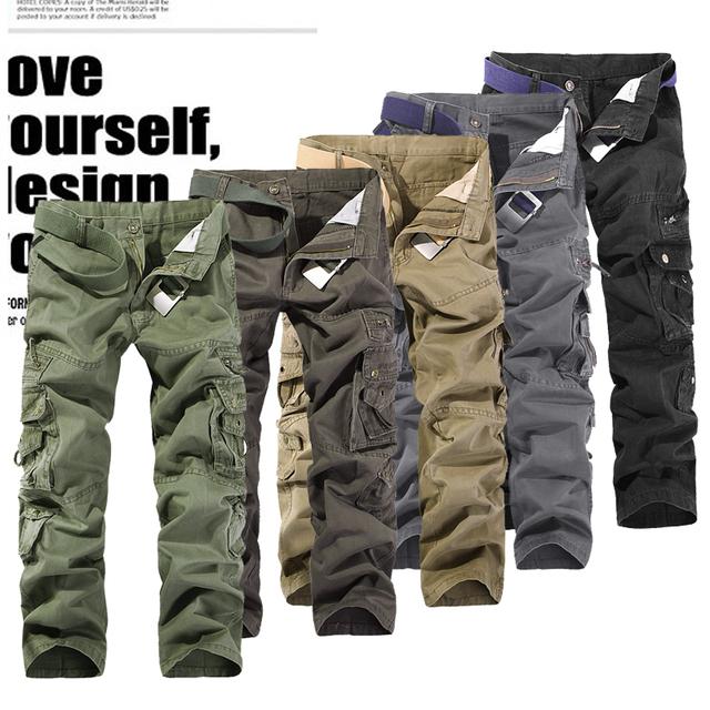 2016 Nova Chegada fora Casuais Calças Militares dos homens Do Exército de Carga Calças Dos Homens Macacão Mais do que Um Bolso