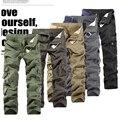 2016 Nueva Llegada fuera Ocasional de Los Hombres Pantalones Cargo Pantalones Militares del Ejército Hombres Guardapolvos Hombres de Más de Un Bolsillo